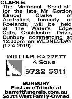 CLARKE Bruce | Funeral Notices | The West Announcements
