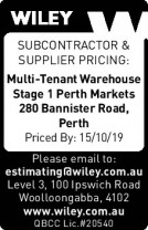 Tender - Multi-Tenant Warehouse Stage 1 Perth Markets
