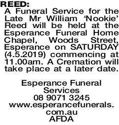 REED William | Funeral Notices | The West Announcements