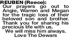REUBEN Reece   Obituaries   The West Announcements