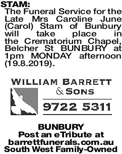 STAM Carol   Funeral Notices   The West Announcements
