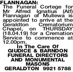 FLANNAGAN Alfred | Funeral Notices | The West Announcements