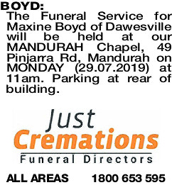 BOYD Maxine | Funeral Notices | The West Announcements