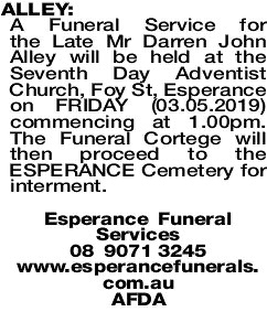 ALLEY Darren | Funeral Notices | The West Announcements